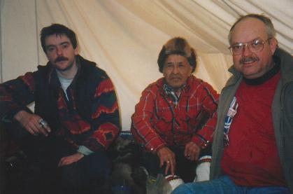 Cst. Tom Wyers, Gwitchin Elder Charlie Thomas, and Sgt. Steve Gleboff